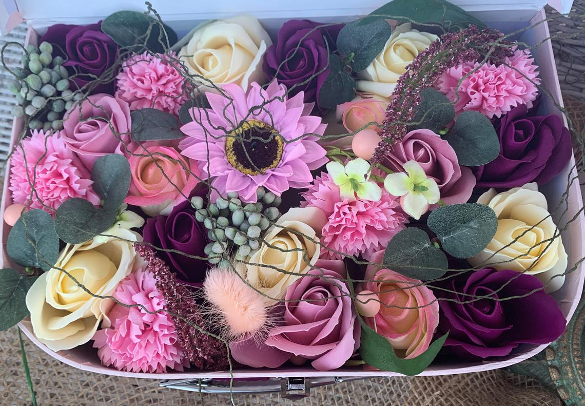 Soap Flowers in a pink suitcase - one petal, one hand wash-2